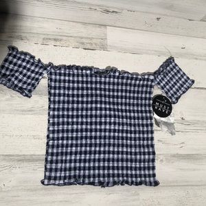 Almost Famous plaid off the shoulder smocked top